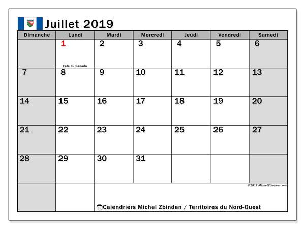 Calendrier juillet 2019 - Territoires-du-Nord-Ouest. Calendrier à imprimer : fêtes et jours fériés.