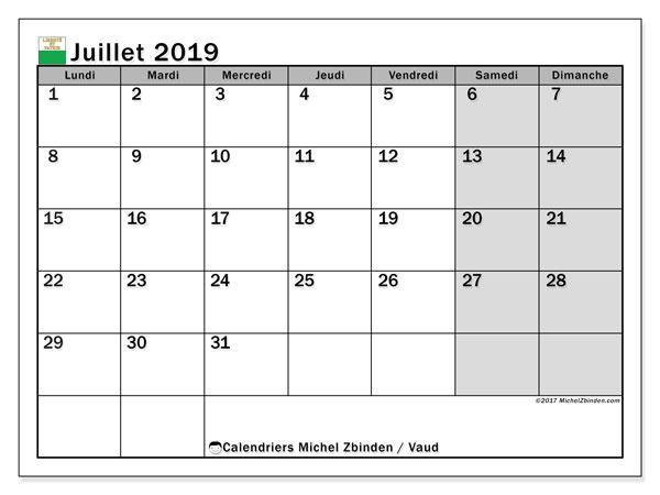 Calendrier juillet 2019, avec les jours fériés du Canton de Vaud. Calendrier à imprimer gratuit.
