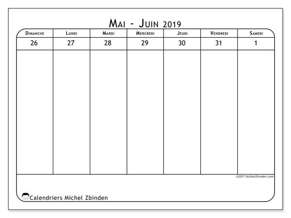 Calendrier juin 2019, 43-1DS. Calendrier gratuit à imprimer.