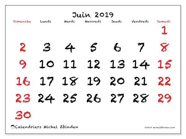 Calendriers juin 2019 (DS).  46DS.