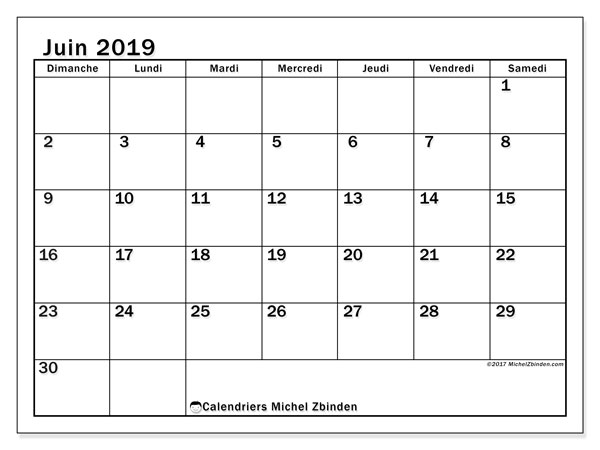 Calendriers juin 2019 (DS).  50DS.