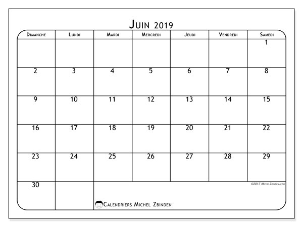 Calendriers juin 2019 (DS).  51DS.