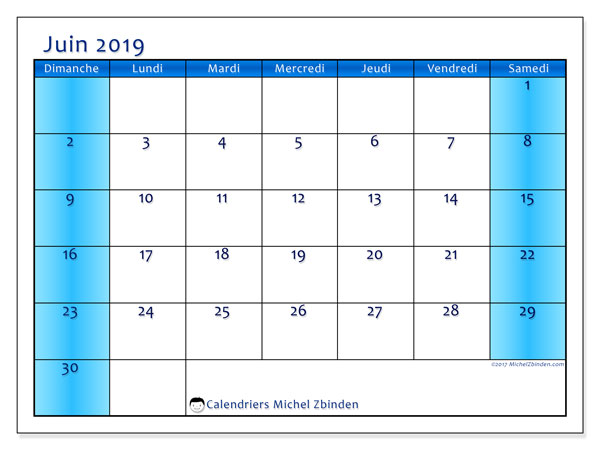 Calendriers juin 2019 (DS).  58DS.