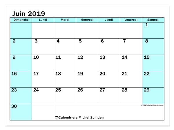 Calendriers juin 2019 (DS).  59DS.