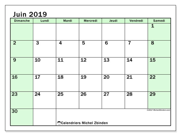 Calendriers juin 2019 (DS).  60DS.