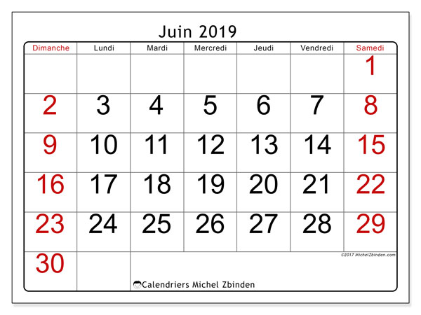 Calendriers juin 2019 (DS).  62DS.