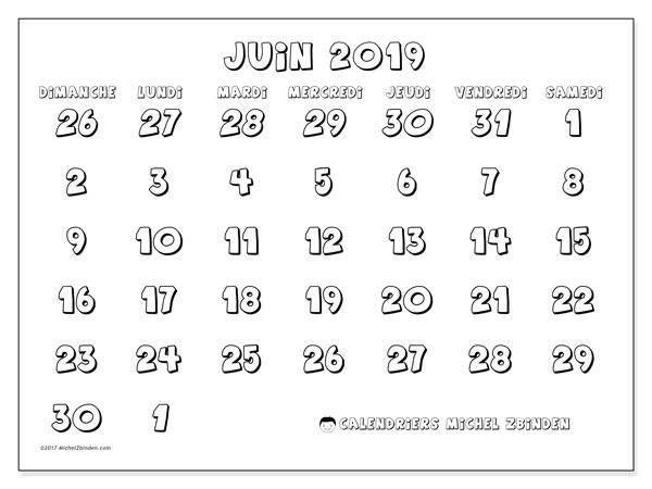 Calendrier juin 2019, 71DS. Organisateur à imprimer gratuit.