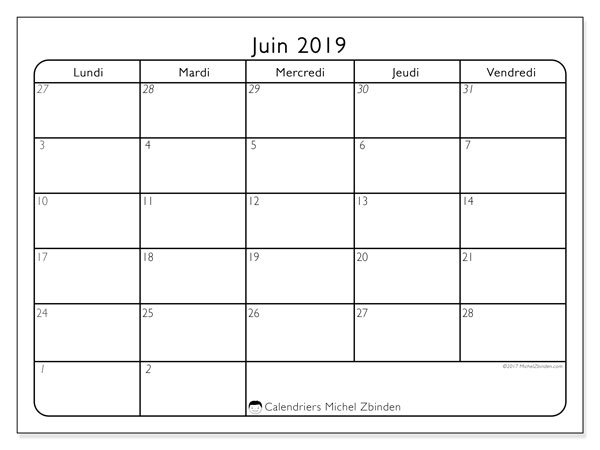 Calendriers juin 2019 (DS).  74LV.