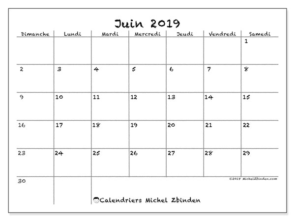 Calendriers juin 2019 (DS).  77DS.