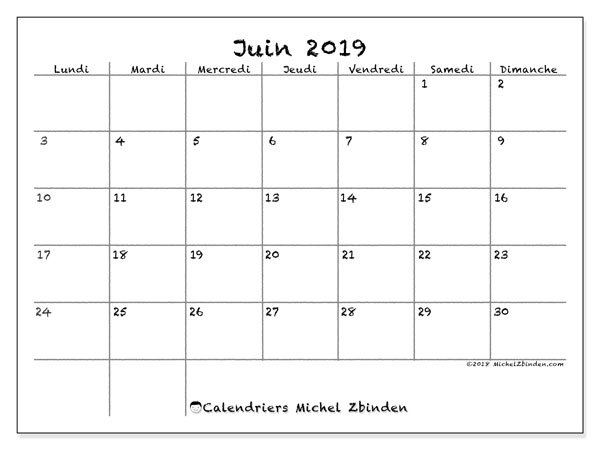 Calendrier Mensuel Juin 2019.Calendrier Juin 2019 77ld Michel Zbinden Fr