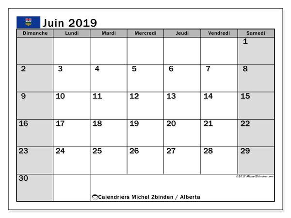 Calendrier juin 2019, avec les jours fériés de l'Alberta. Calendrier gratuit à imprimer.