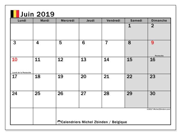 Calendrier juin 2019, avec les jours fériés de la Belgique. Calendrier mensuel à imprimer gratuit.