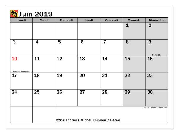 Calendrier juin 2019, avec les jours fériés du Canton de Berne. Planificateur à imprimer gratuit.
