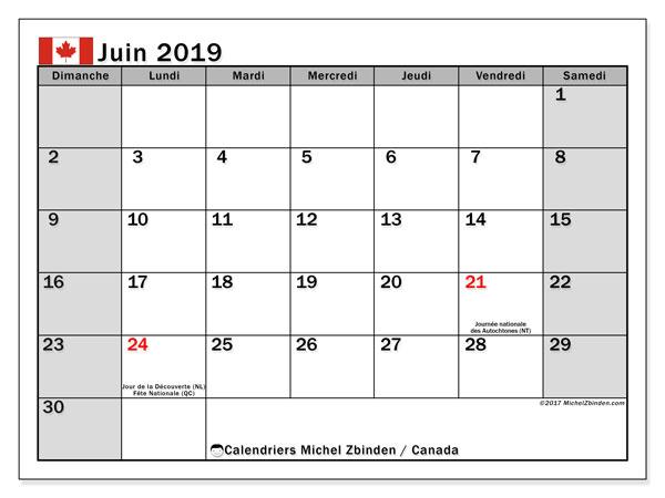 Calendrier juin 2019, avec les jours fériés du Canada. Calendrier imprimable gratuit.