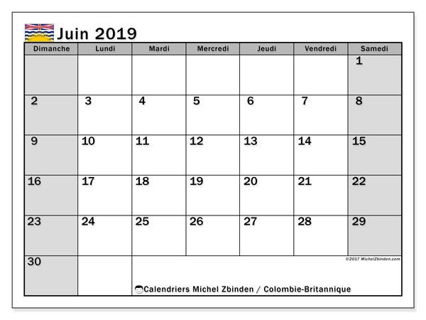 Calendrier juin 2019, avec les jours fériés de la Colombie-Britannique. Calendrier pour le mois à imprimer gratuit.
