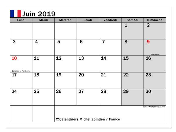 Calendrier juin 2019, avec les jours fériés de la France.. Calendrier mensuel à imprimer gratuit.