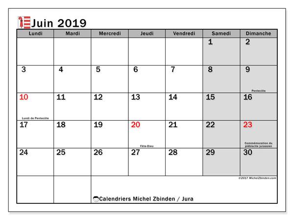 Calendrier juin 2019, avec les jours fériés du Canton du Jura. Calendrier pour le mois à imprimer gratuit.
