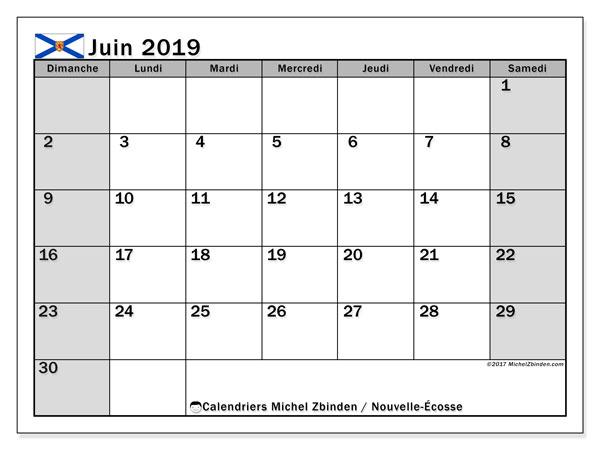 Calendrier juin 2019, avec les jours fériés de la Nouvelle-Écosse. Calendrier pour le mois à imprimer gratuit.