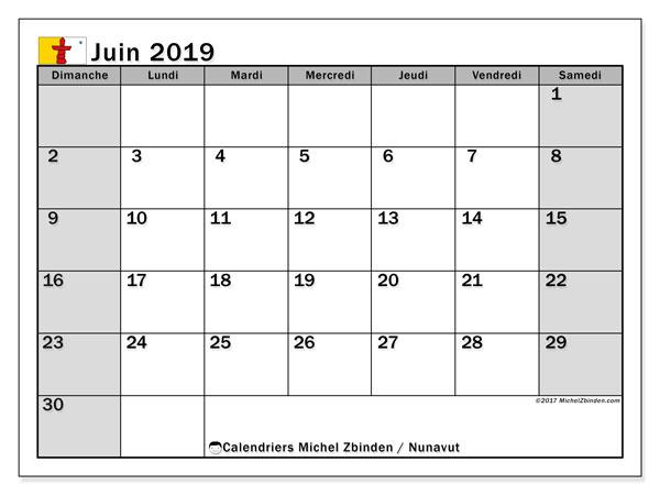 Calendrier juin 2019, avec les jours fériés du Nunavut. Calendrier mensuel à imprimer gratuit.