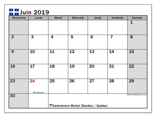 Calendrier juin 2019 - Québec. Calendrier à imprimer : jours fériés officiels.