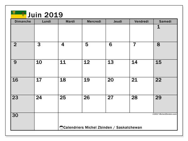 Calendrier juin 2019, avec les jours fériés de la Saskatchewan. Organisateur à imprimer gratuit.