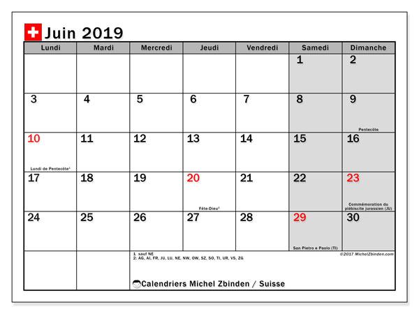 Calendrier juin 2019, avec les jours fériés de la Suisse. Calendrier mensuel à imprimer gratuit.