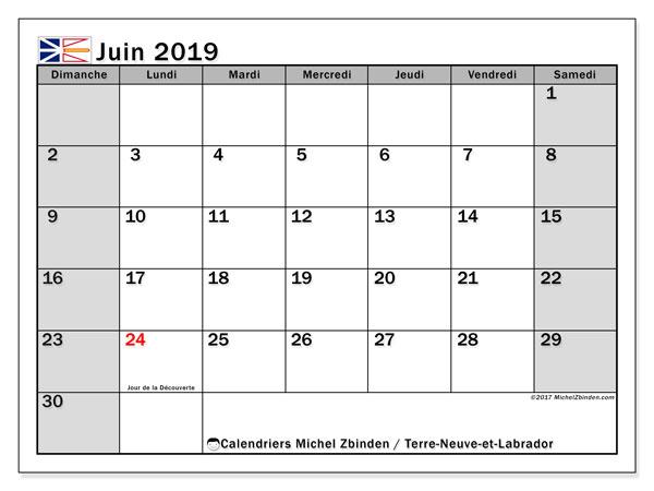 Calendrier juin 2019 - Terre-Neuve-et-Labrador. Calendrier à imprimer : jours fériés officiels.