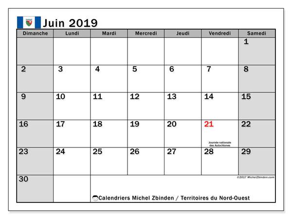 Calendrier juin 2019, avec les jours fériés des Territoires-du-Nord-Ouest. Calendrier Fêtes et jours fériés à imprimer gratuit.
