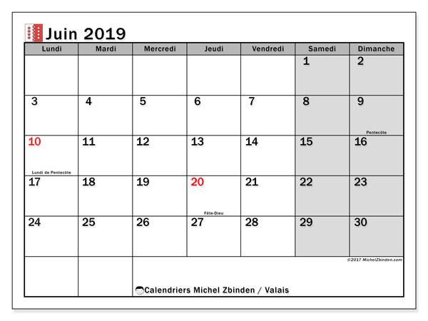 Calendrier juin 2019, avec les jours fériés du Canton du Valais. Calendrier imprimable gratuit.