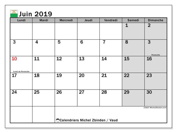 Calendrier juin 2019, avec les jours fériés du Canton de Vaud. Calendrier imprimable gratuit.