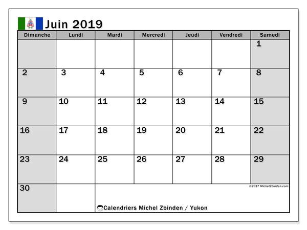 Calendrier juin 2019 - Yukon. Calendrier à imprimer : fêtes et jours fériés.