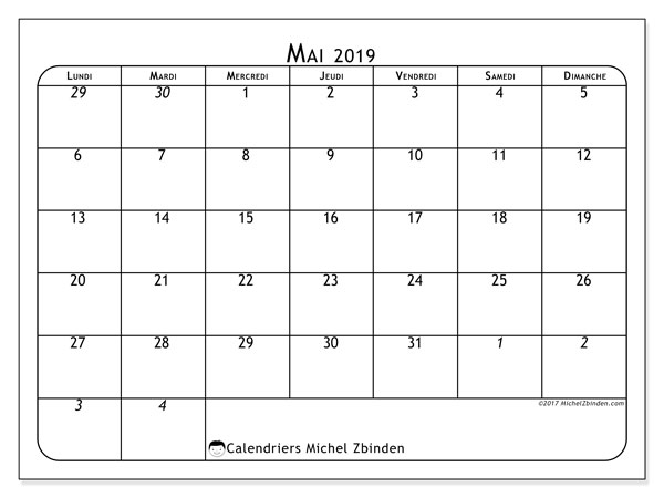 Calendrier Mai 2019 A Imprimer Gratuit.Calendrier Mai 2019 67ld Michel Zbinden Fr