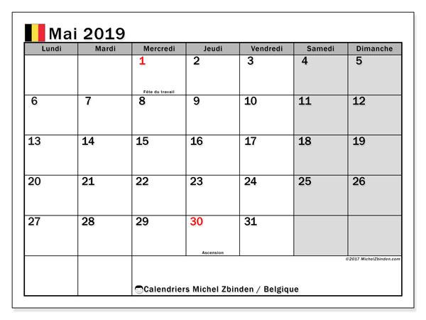 Calendrier  mai 2019, Belgique