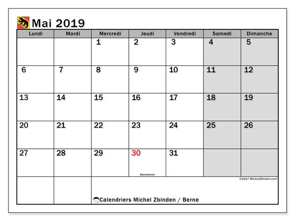 Calendrier mai 2019, avec les jours fériés du Canton de Berne. Calendrier imprimable gratuit.