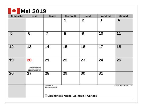 Calendrier mai 2019, avec les jours fériés du Canada. Calendrier mensuel à imprimer gratuit.