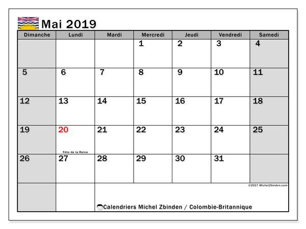 Calendrier mai 2019 - Colombie-Britannique. Calendrier à imprimer : jours fériés officiels.
