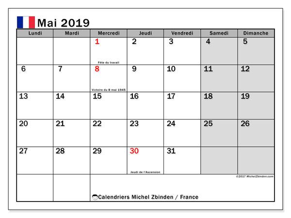 Calendrier mai 2019, avec les jours fériés de la France.. Calendrier à imprimer gratuit.