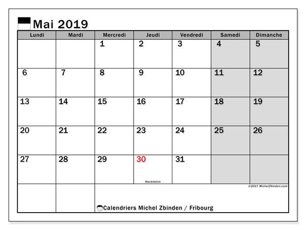 Calendrier mai 2019 - Fribourg. Calendrier à imprimer : jours fériés officiels.