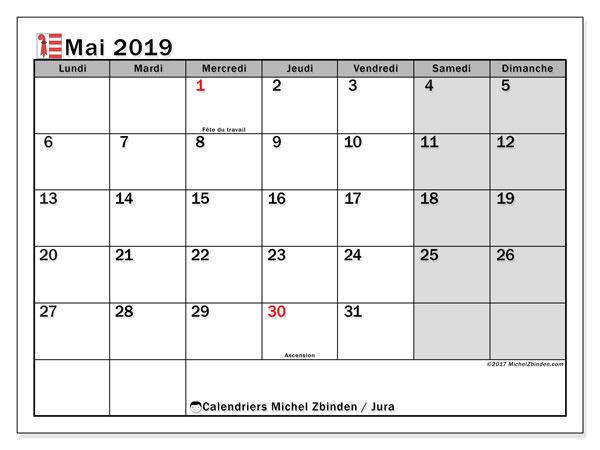 Calendrier mai 2019, avec les jours fériés du Canton du Jura. Organisateur à imprimer gratuit.