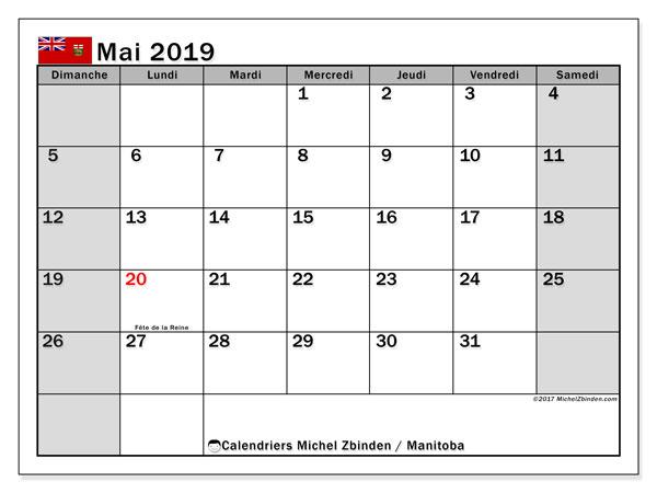 Calendrier mai 2019, avec les jours fériés du Manitoba. Calendrier à imprimer gratuit avec jours fériés.