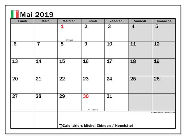 Calendrier mai 2019, avec les jours fériés du Canton de Neuchâtel. Calendrier pour le mois à imprimer gratuit.