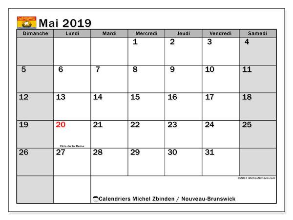 Calendrier mai 2019 - Nouveau-Brunswick. Calendrier à imprimer : jours fériés officiels.