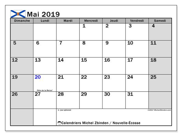 Calendrier mai 2019, avec les jours fériés de la Nouvelle-Écosse. Calendrier gratuit à imprimer.