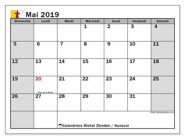 Calendrier mai 2019 - Nunavut. Calendrier à imprimer : fêtes et jours fériés.