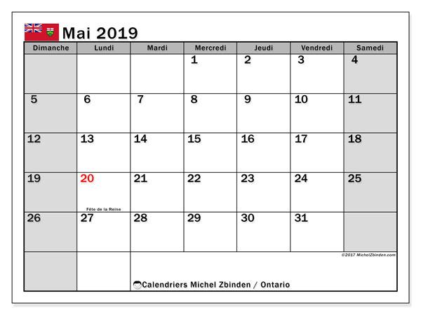 Calendrier mai 2019, avec les jours fériés de l'Ontario. Organisateur à imprimer gratuit.