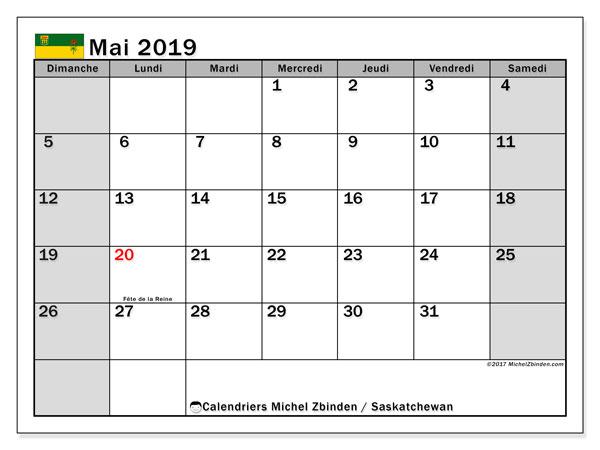 Calendrier mai 2019, avec les jours fériés de la Saskatchewan. Calendrier à imprimer gratuit avec jours fériés.