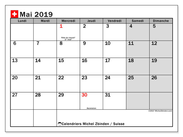 Calendrier  mai 2019, suisse