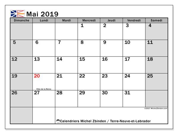 Calendrier mai 2019 - Terre-Neuve-et-Labrador. Calendrier à imprimer : jours fériés officiels.