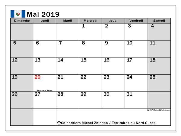 Calendrier mai 2019 - Territoires-du-Nord-Ouest. Calendrier à imprimer : jours fériés officiels.