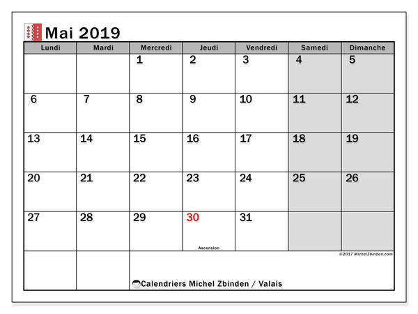 Calendrier mai 2019, avec les jours fériés du Canton du Valais. Calendrier imprimable gratuit.